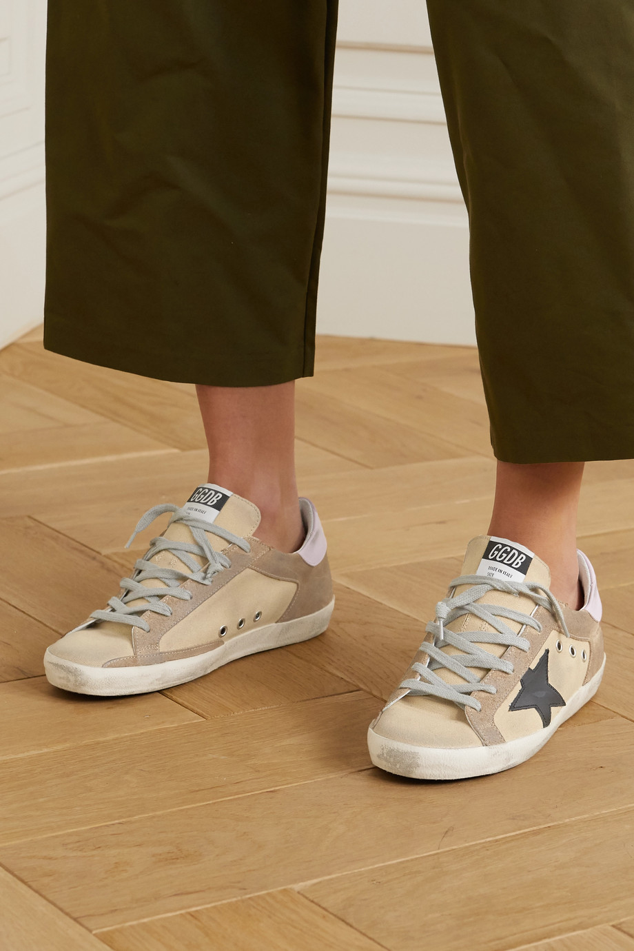 Golden Goose Superstar distressed canvas and suede sneakers