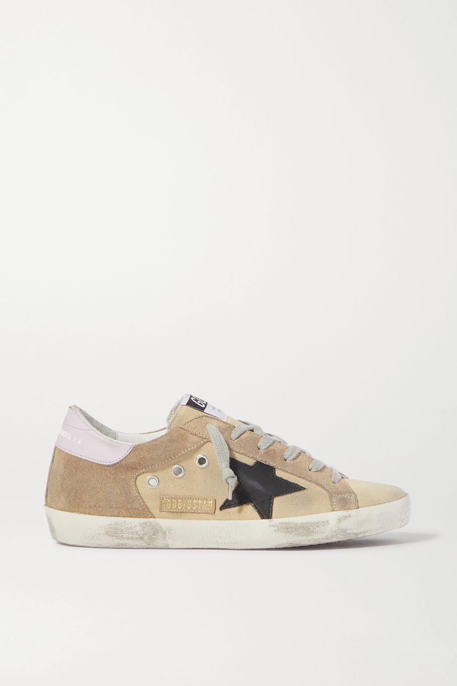 Golden Goose Superstar Sneakers aus Canvas und Veloursleder in Distressed-Optik