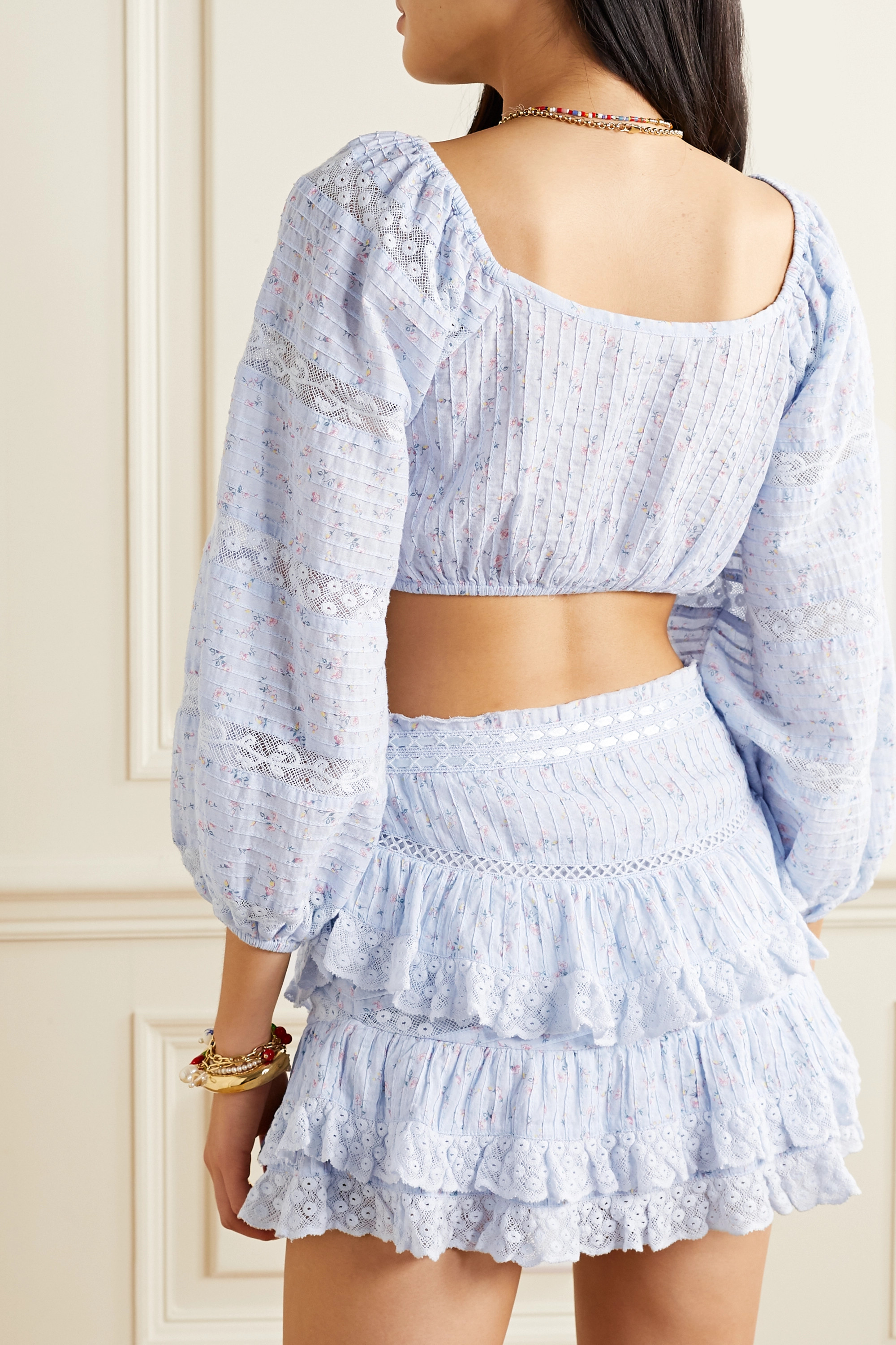 LoveShackFancy Albertina cropped lace-trimmed floral-print cotton-voile top