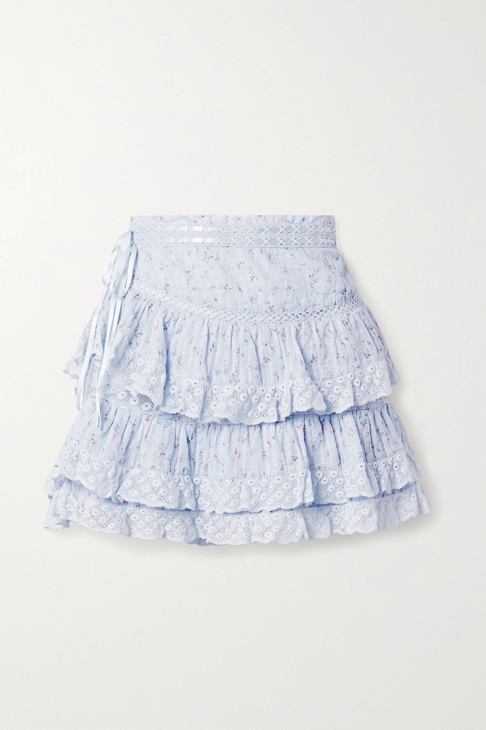LoveShackFancy Bara lace-trimmed tiered floral-print cotton-voile mini skirt