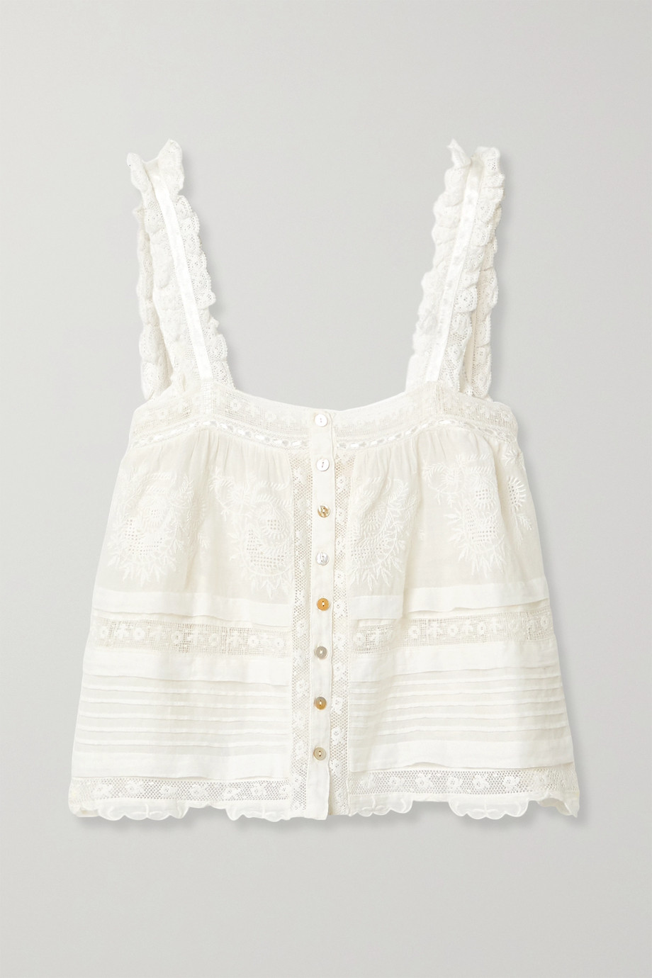 LoveShackFancy Sully crochet-trimmed embroidered cotton-voile top