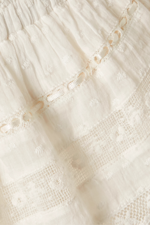 LoveShackFancy Mini-jupe en voile de coton plumetis à finitions en crochet et à volants