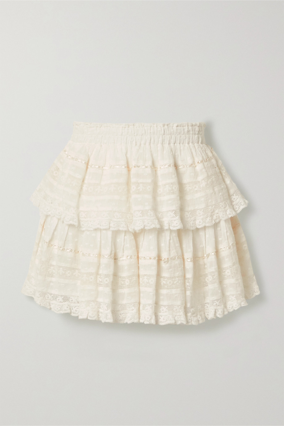 LoveShackFancy Ruffled crochet-trimmed Swiss-dot cotton-voile mini skirt