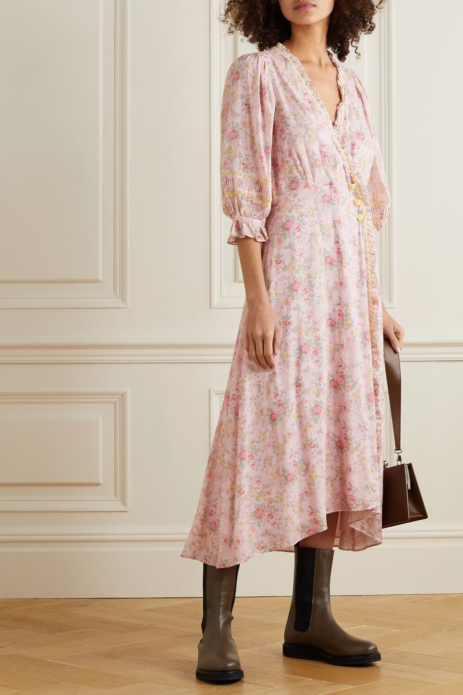 LoveShackFancy Sarabeth rickrack and lace-trimmed floral-print cotton midi dress