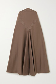 Lily paneled cotton-twill midi skirt