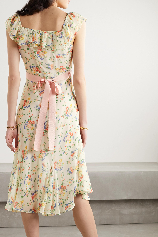 LoveShackFancy Faith grosgrain-trimmed printed silk crepe de chine midi dress