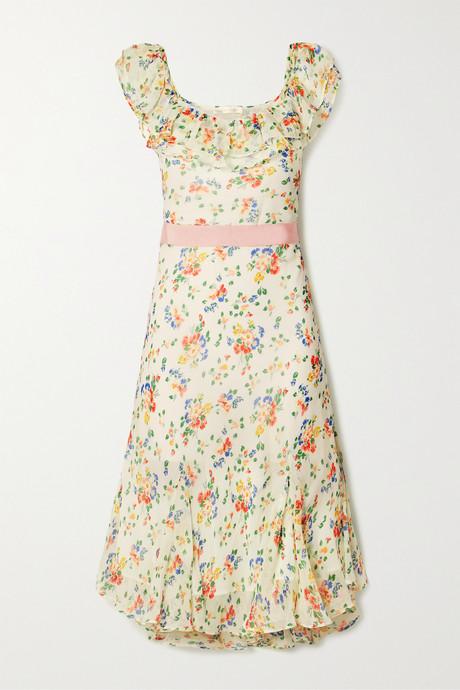 Off-white Faith grosgrain-trimmed printed silk crepe de chine midi dress | LoveShackFancy AANiyp