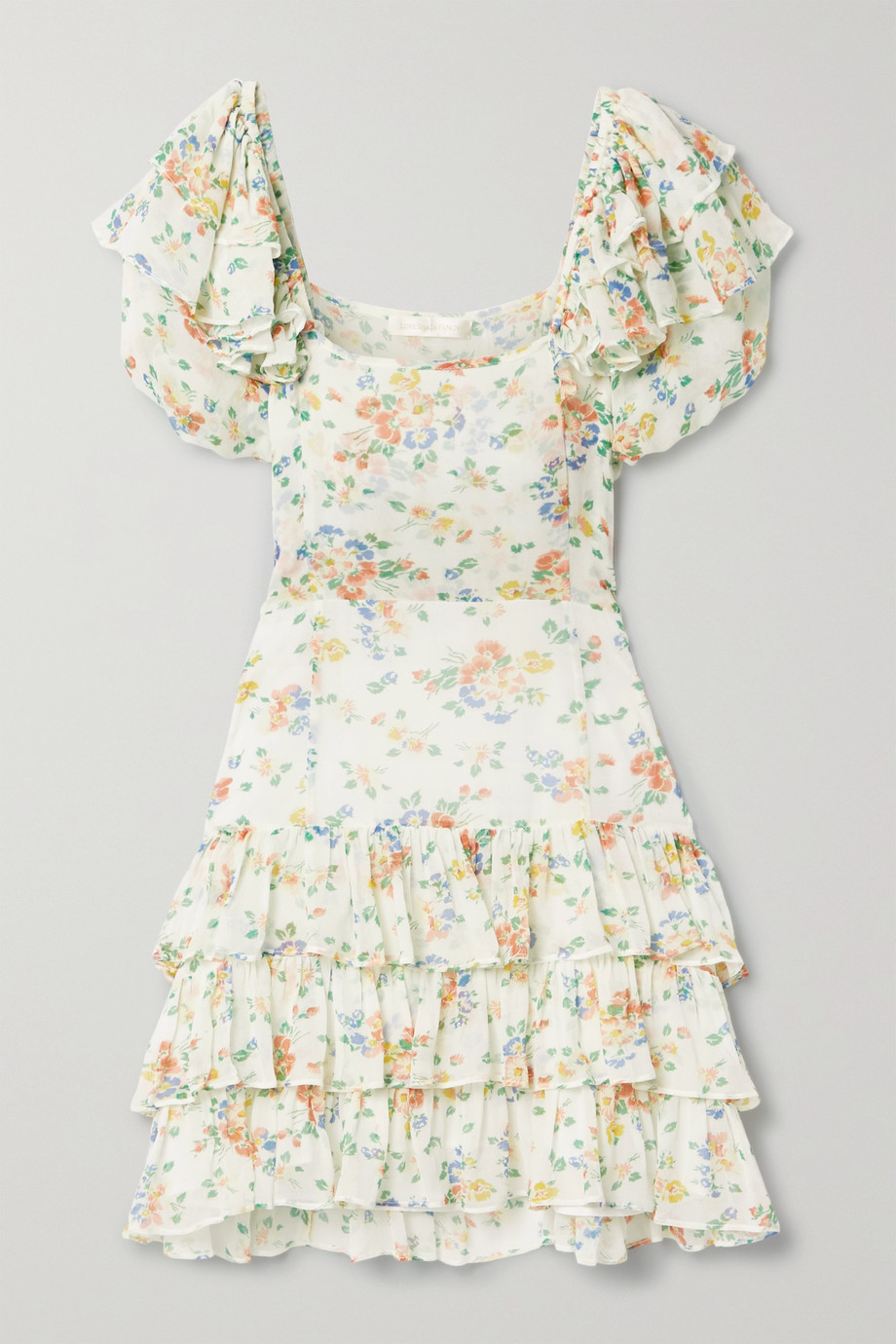 LoveShackFancy Kimbra tiered floral-print silk-chiffon mini dress
