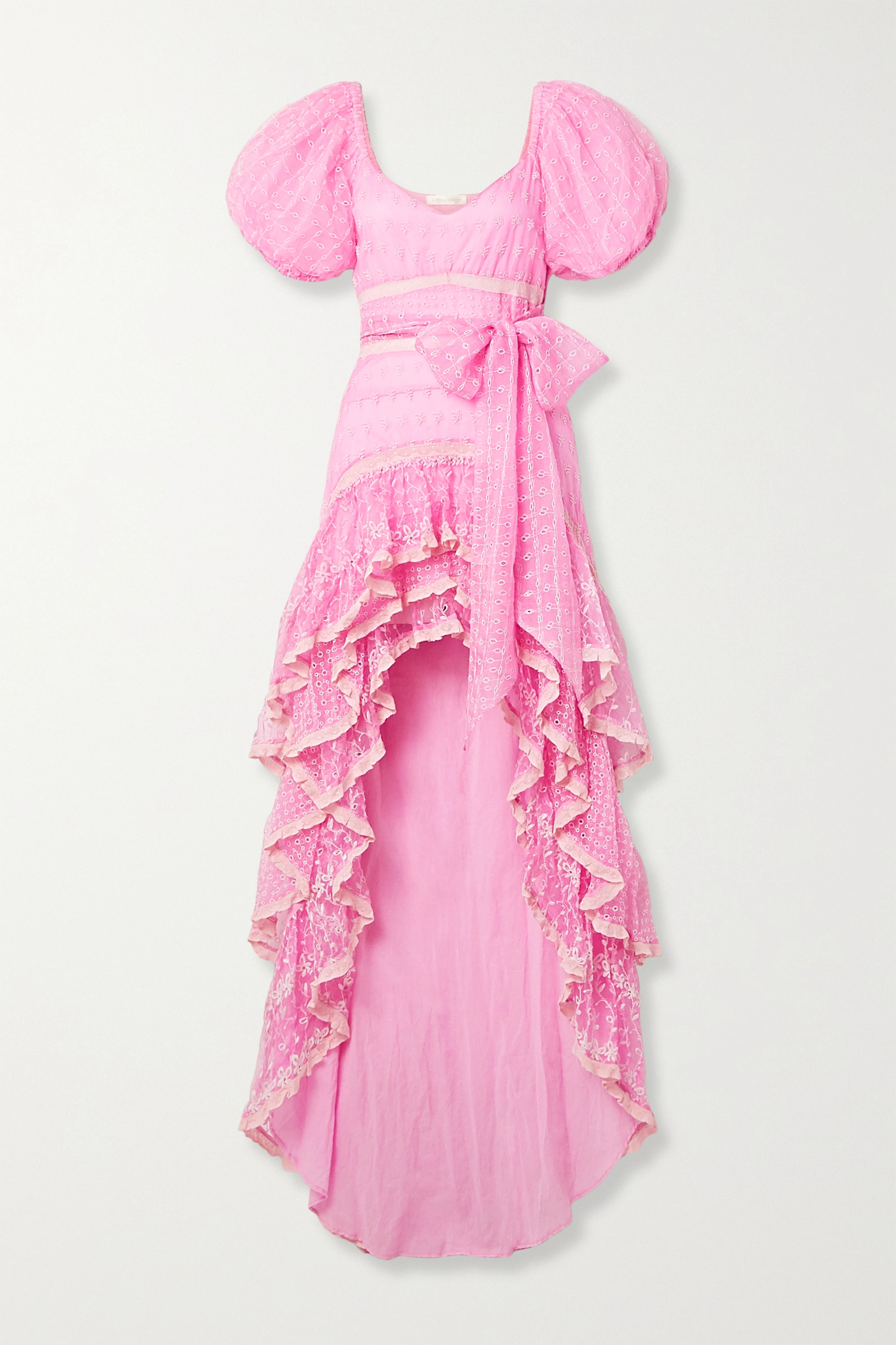 LoveShackFancy Cayden crochet-trimmed embroidered silk-organza and tulle maxi dress