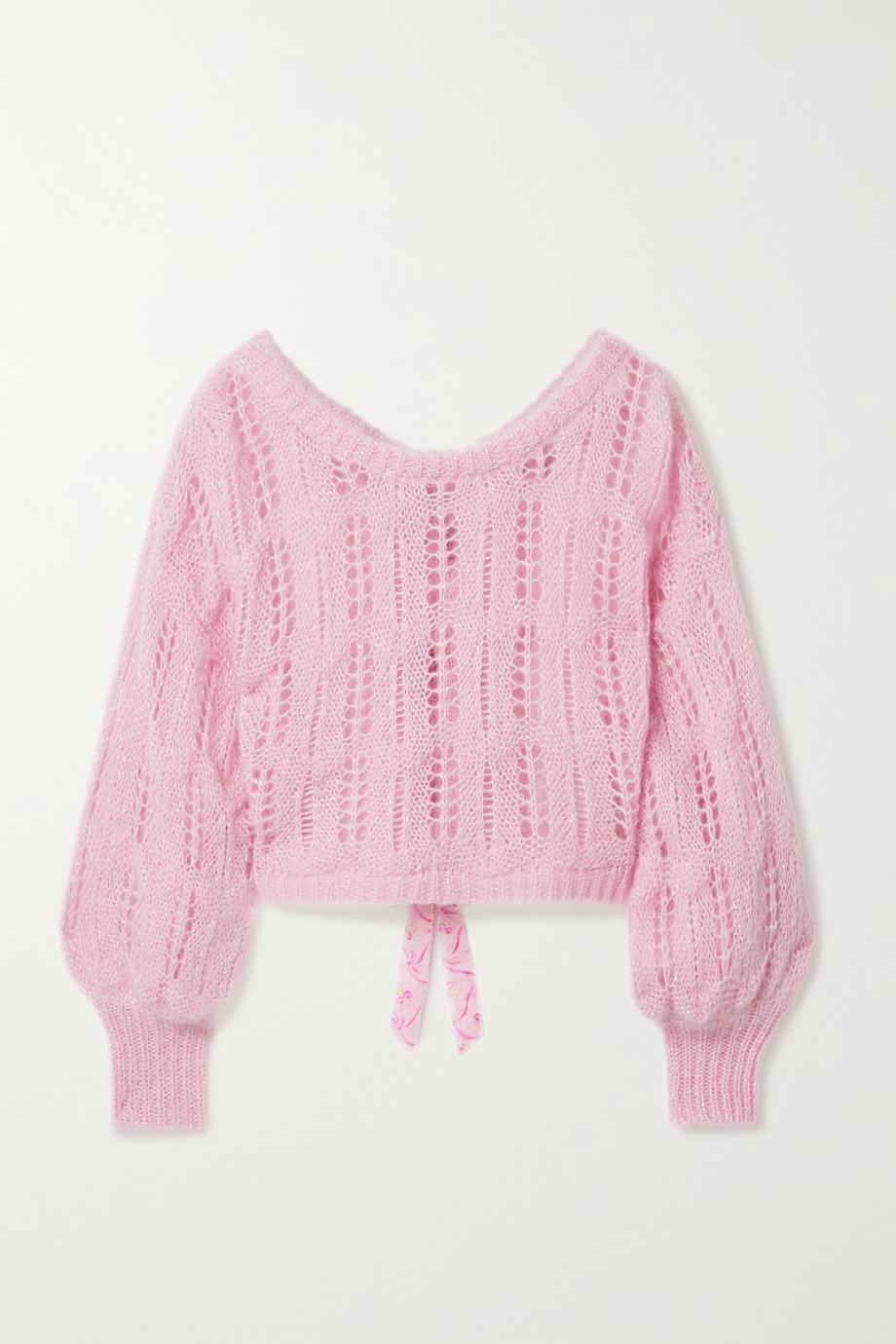 LoveShackFancy Eugenia cropped bow-embellished metallic open-knit sweater