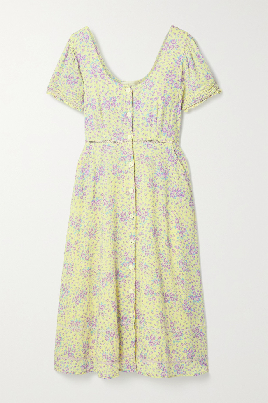 LoveShackFancy Regina crochet and rickrack-trimmed floral-print cotton-voile midi dress
