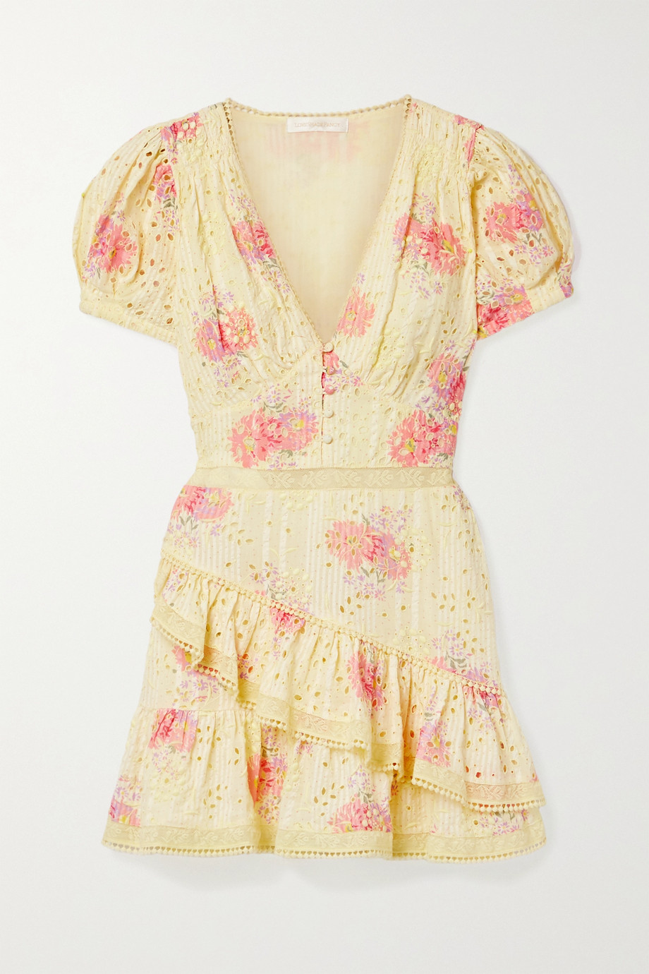 LoveShackFancy Bea lace-trimmed tiered broderie anglaise cotton-voile mini dress