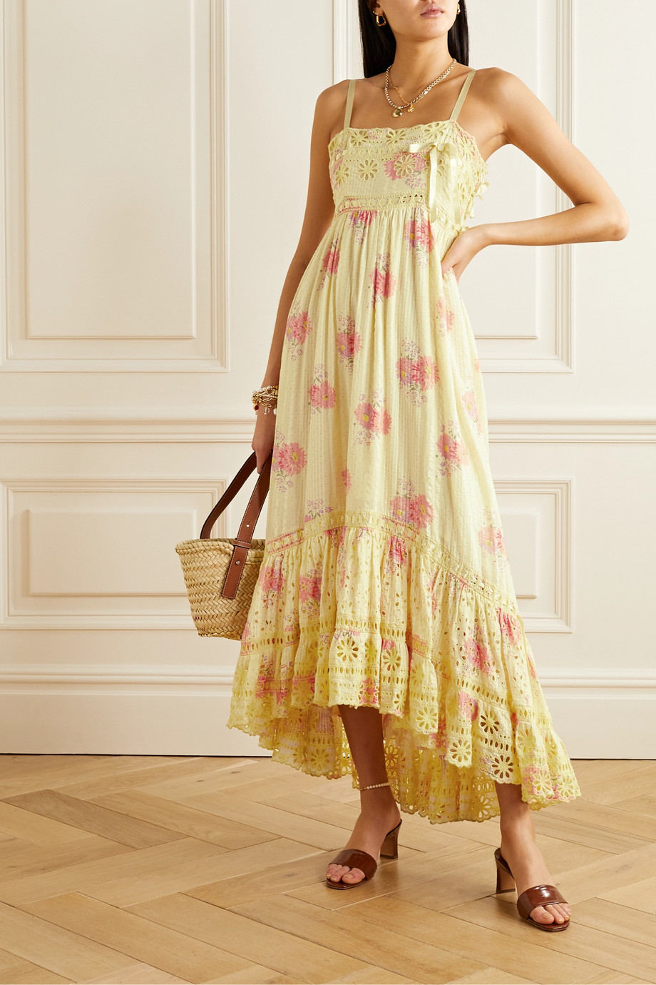 LoveShackFancy Vivi satin and broderie anglaise-trimmed floral-print cotton midi dress