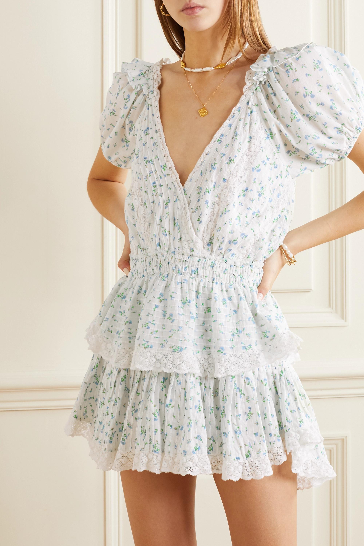 LoveShackFancy Mini-robe en voile de coton à imprimé fleuri, finitions en crochet et volants Carlo