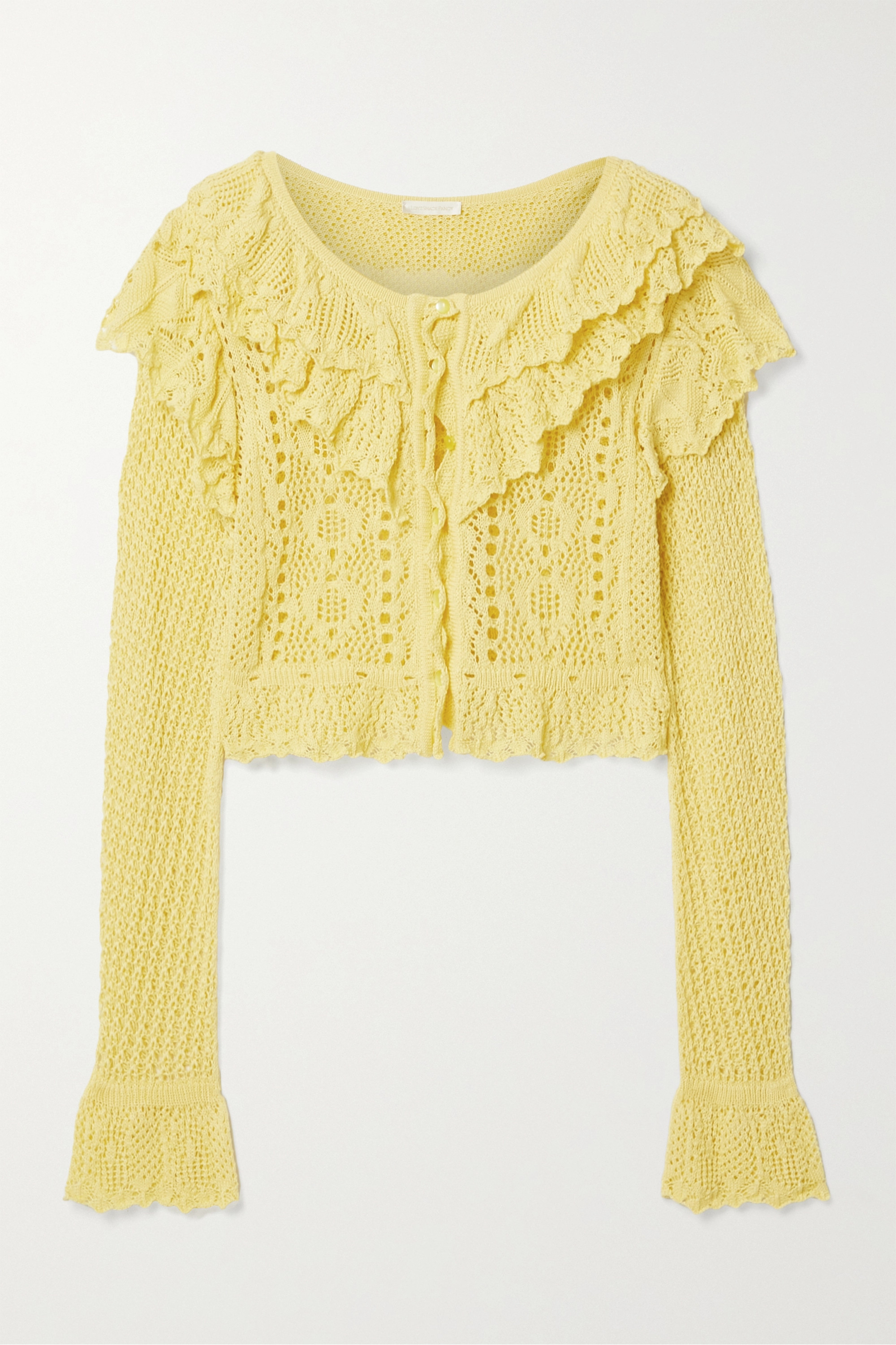 LoveShackFancy Seraphine cropped ruffled crocheted cotton cardigan