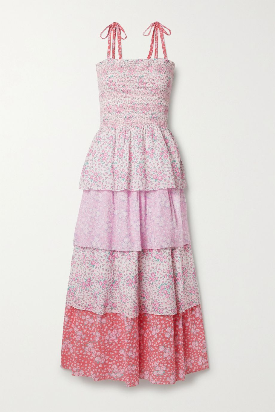 LoveShackFancy Caressa shirred tiered floral-print Swiss-dot cotton maxi dress
