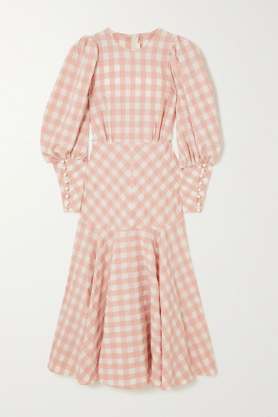Anna Mason Robe longue en coton vichy à fronces Eliza