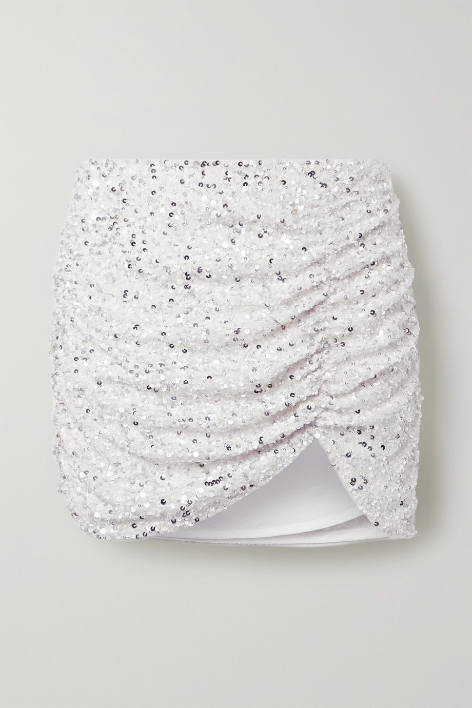 Retrofête Celestia ruched sequined crepe de chine mini skirt