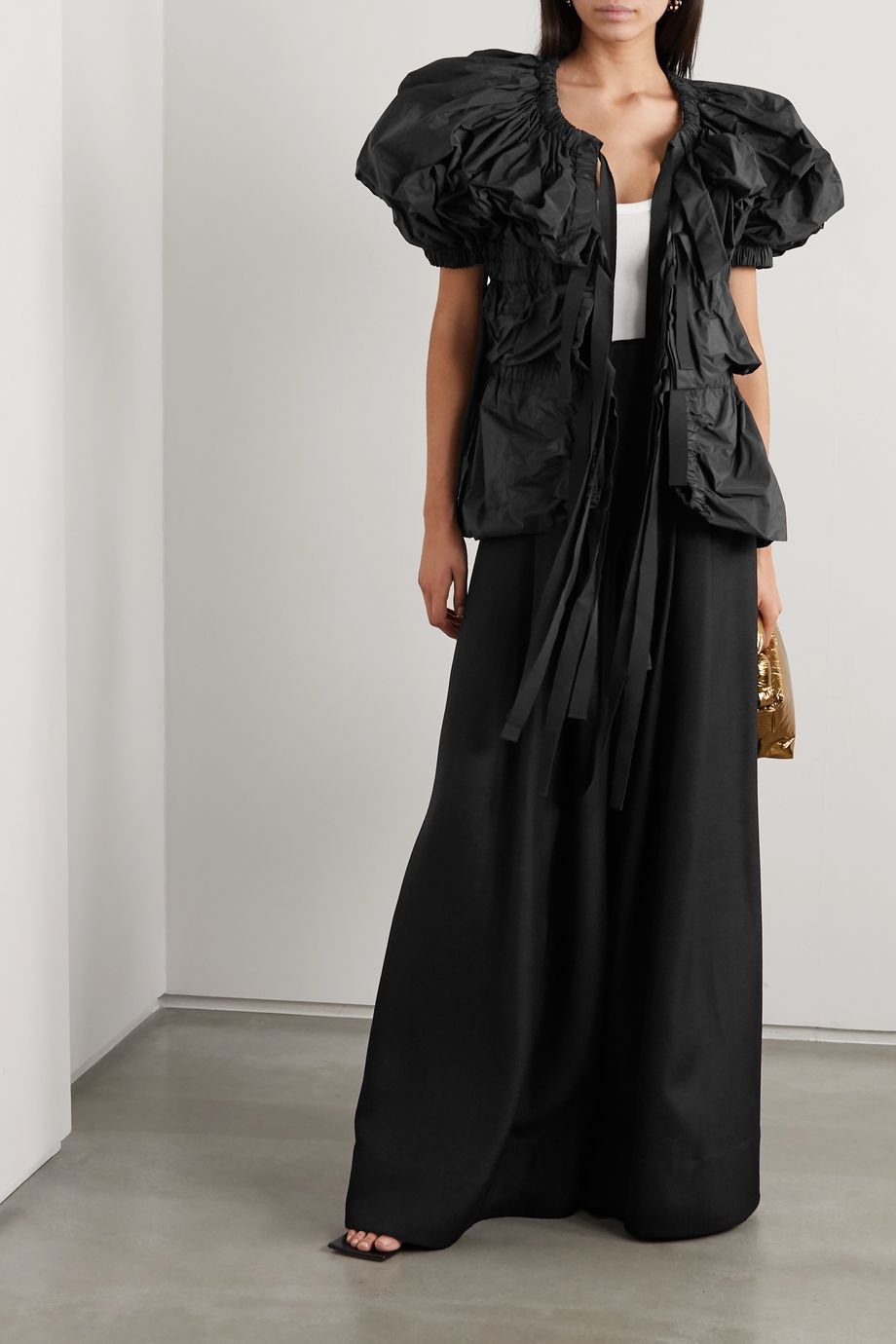 Dries Van Noten Tie-front tiered gathered taffeta blouse