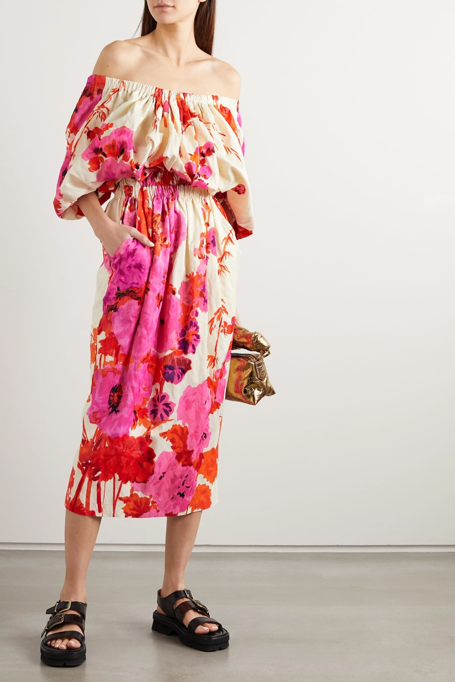 Dries Van Noten Off-the-shoulder gathered floral-print poplin midi dress
