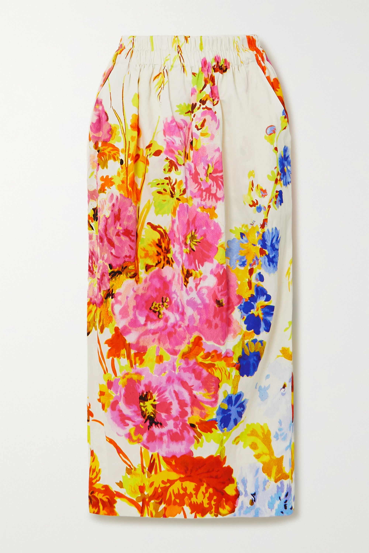 Dries Van Noten Floral-print satin midi skirt