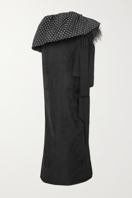Black Feather-trimmed polka-dot satin and floral-jacquard maxi skirt  | Dries Van Noten IrpWtP