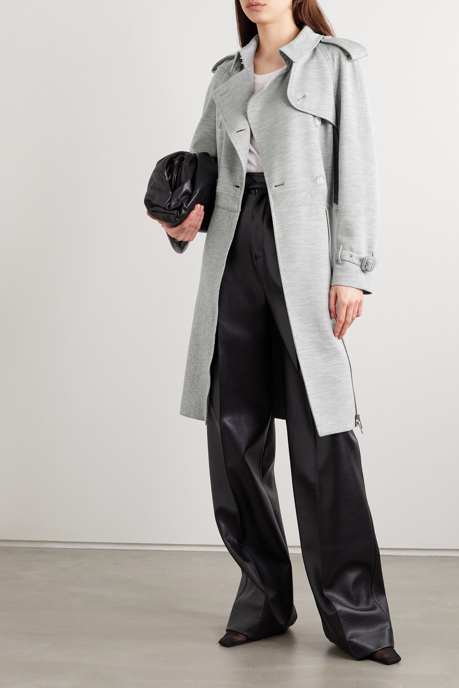 Burberry Double-breasted paneled wool-blend jersey and ribbed-knit trench coat