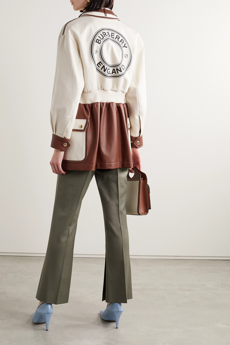 Burberry Printed cotton-canvas and leather jacket