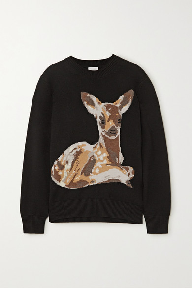 Burberry Courtney Deer Intarsia Wool Sweater In Black
