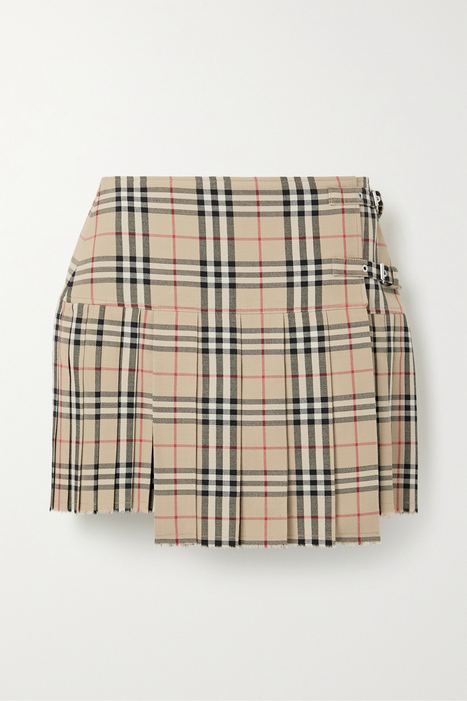 Burberry Pleated checked wool mini skirt