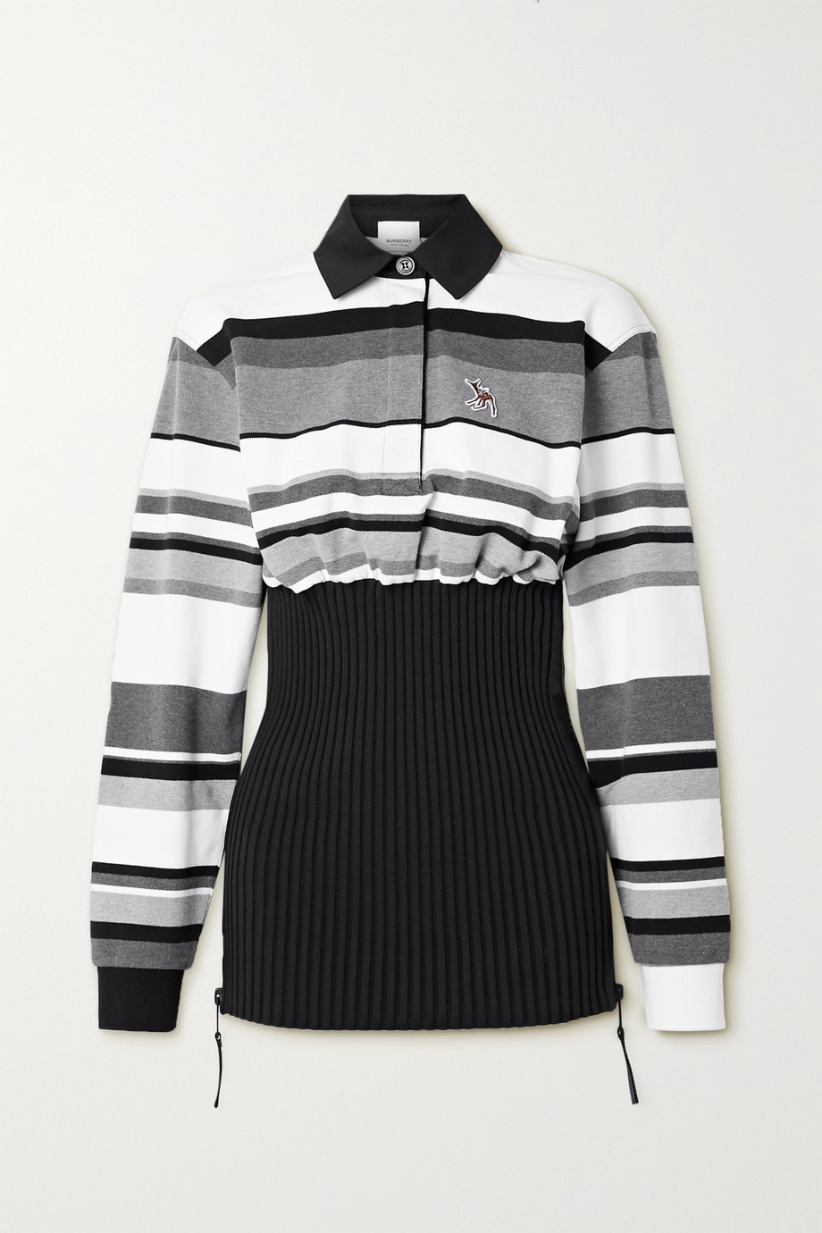 Burberry Appliquéd striped cotton-piqué and ribbed-knit top