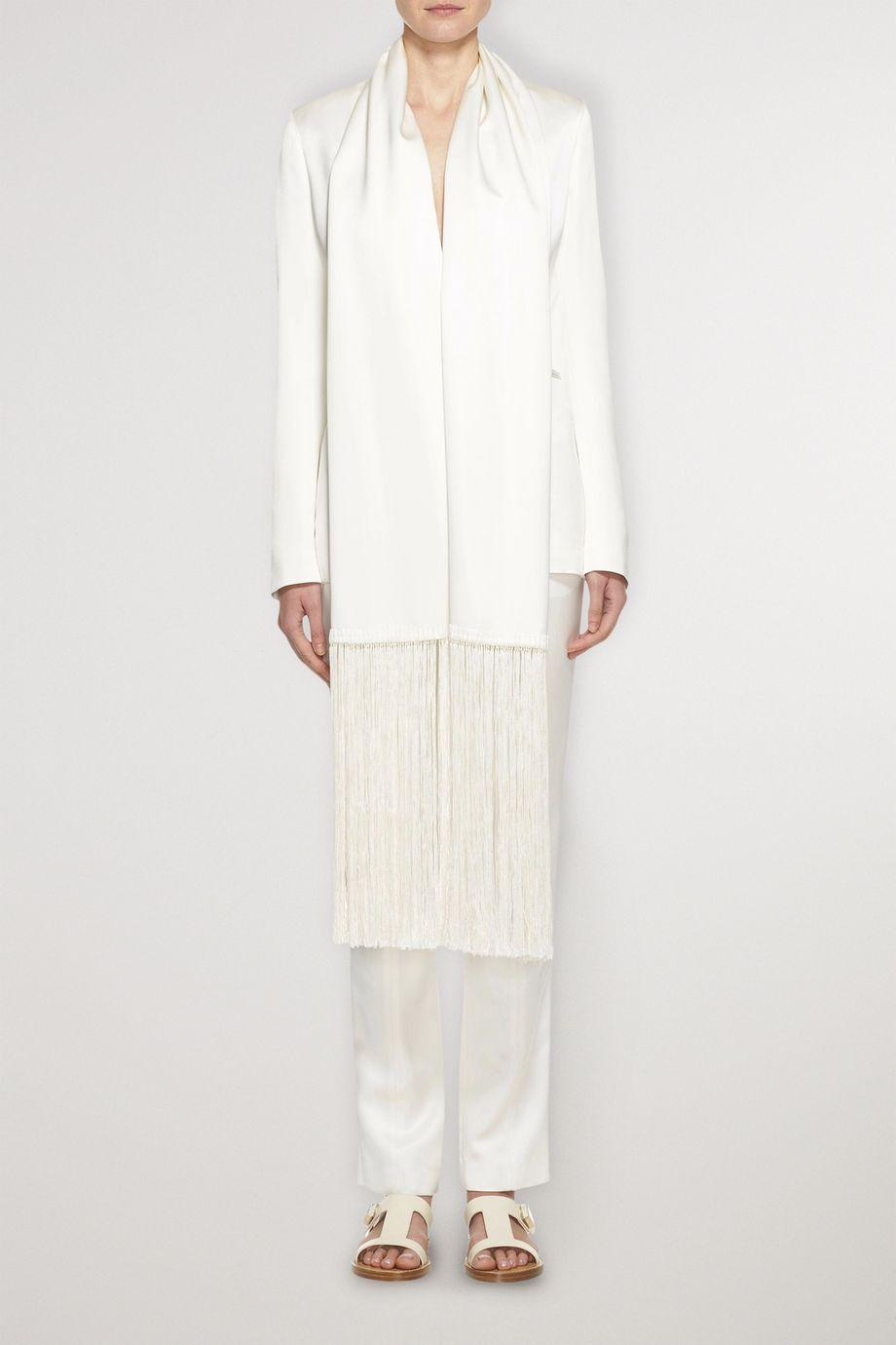 Gabriela Hearst Hera fringe-trimmed silk-satin blazer