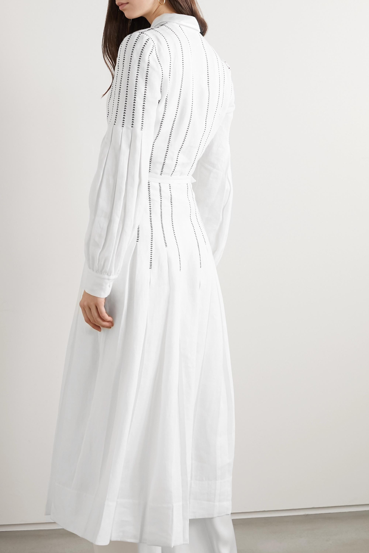 Gabriela Hearst Robe midi en lin biologique à ceinture, à plis et à broderies Chelsea - NET SUSTAIN
