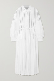 + NET SUSTAIN Chelsea belted pleated embroidered organic linen midi dress