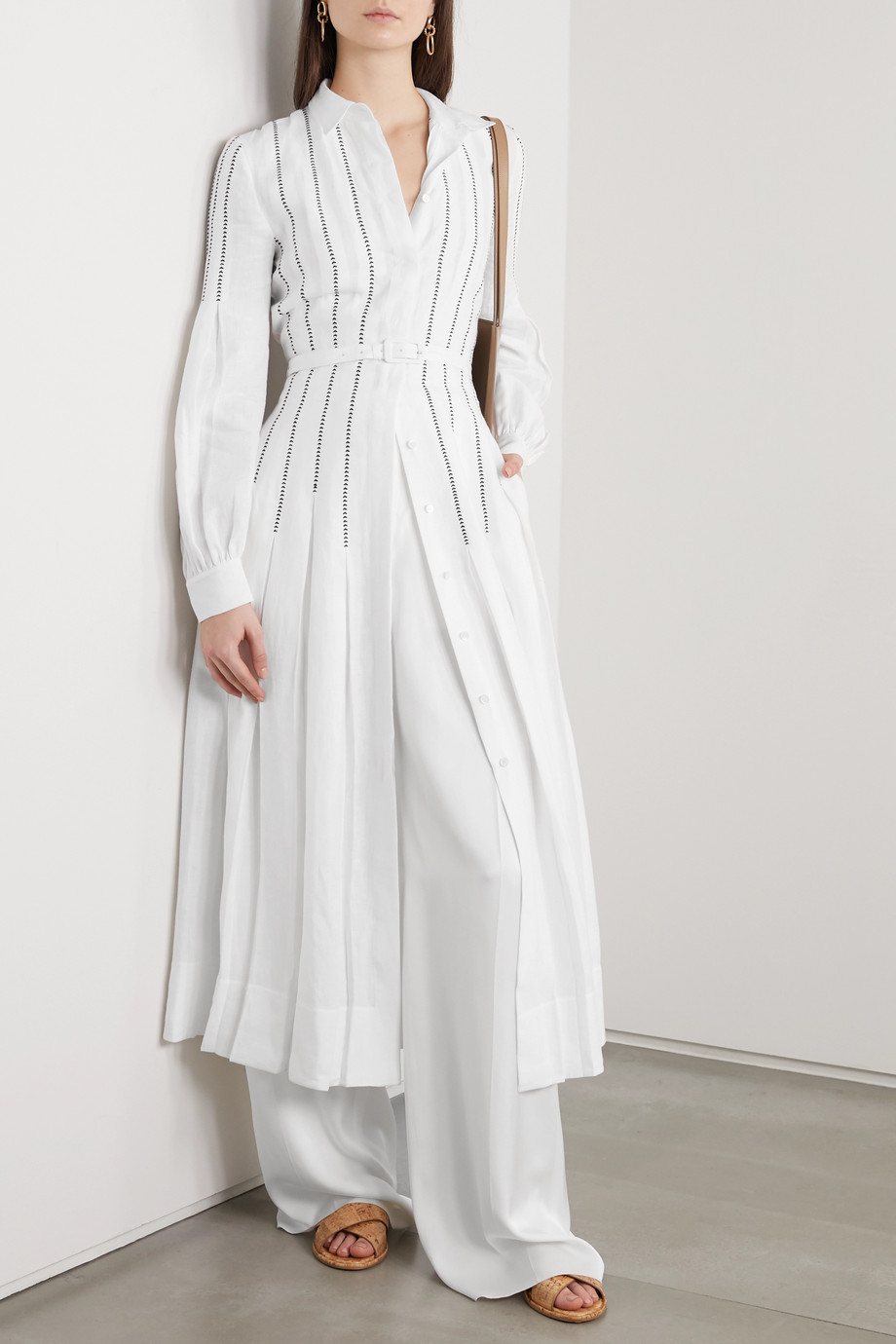 Gabriela Hearst + NET SUSTAIN Chelsea belted pleated embroidered organic linen midi dress