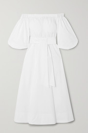 + NET SUSTAIN off-the-shoulder belted organic cotton-poplin midi dress