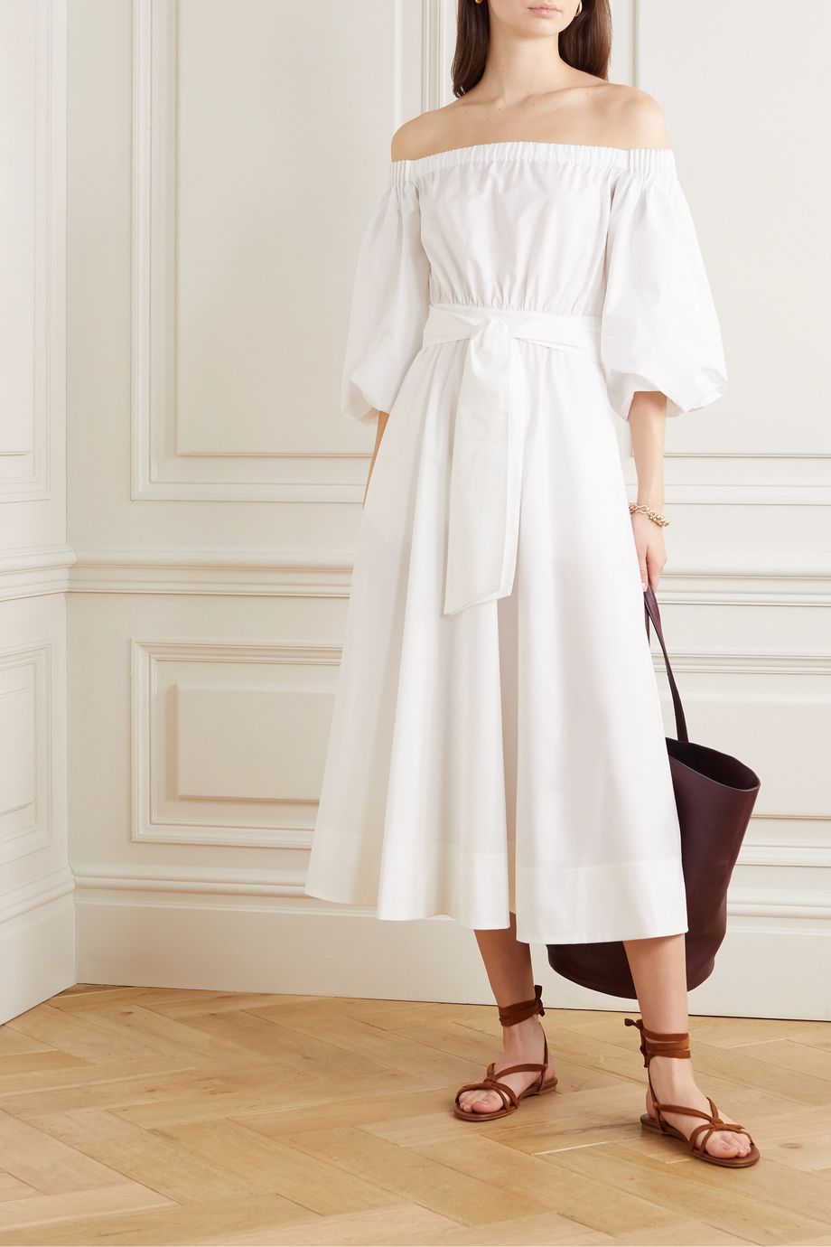 Gabriela Hearst + NET SUSTAIN off-the-shoulder belted organic cotton-poplin midi dress