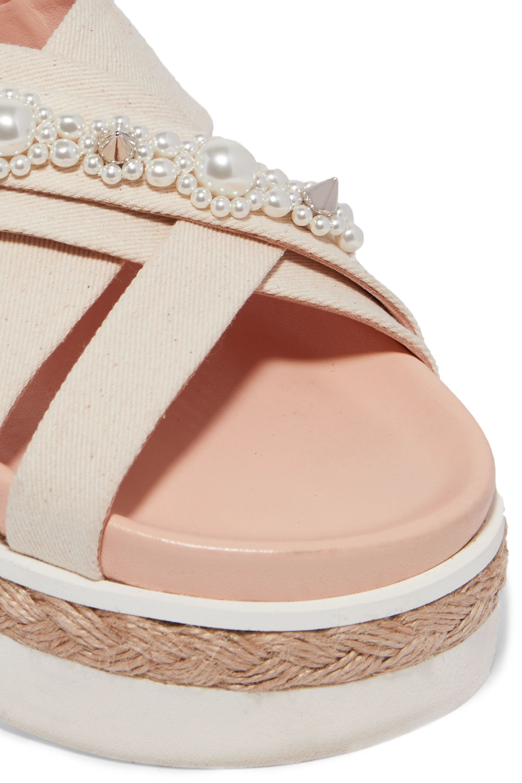 Simone Rocha Embellished canvas and jute platform sandals