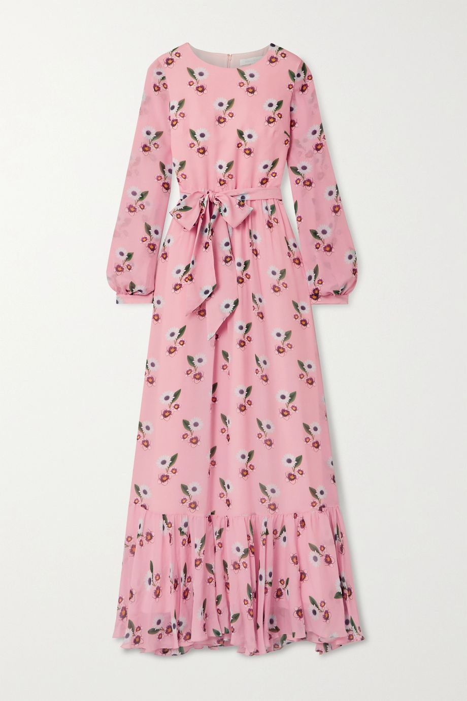 Borgo de Nor Belted floral-print silk-georgette maxi dress