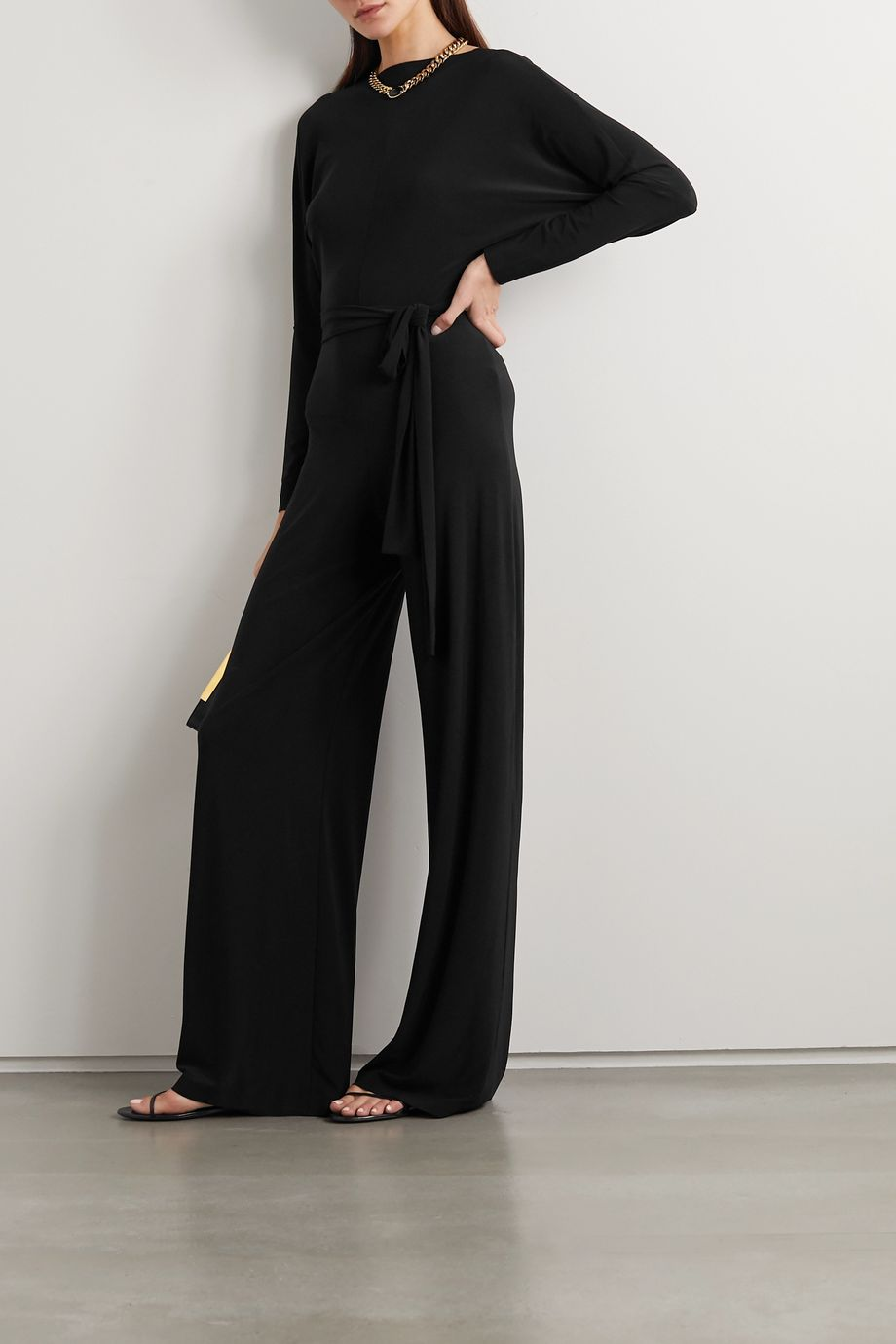 Norma Kamali Belted stretch-jersey jumpsuit