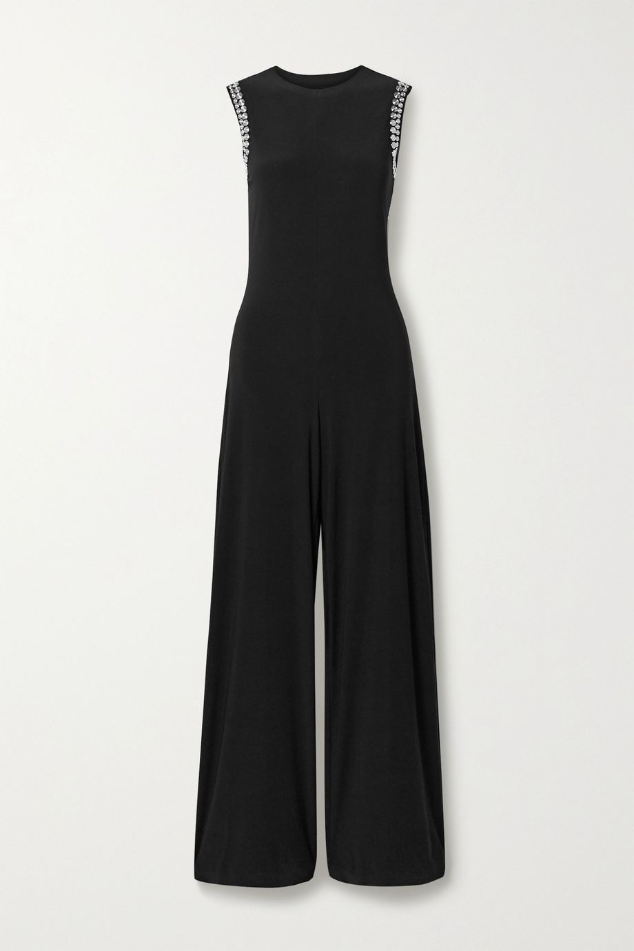 Norma Kamali Studded open-back stretch-jersey jumpsuit