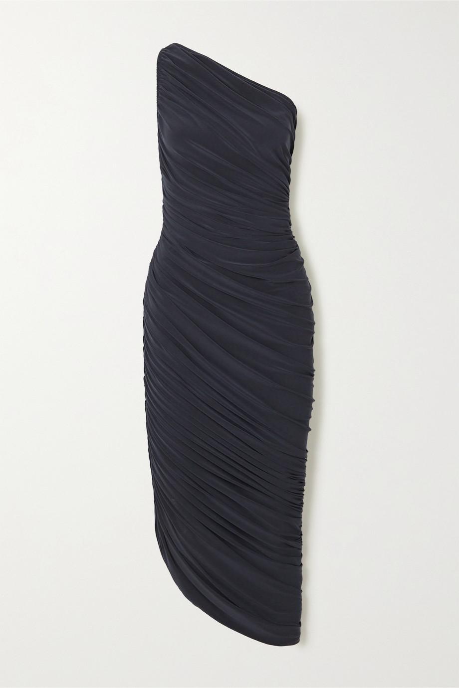 Norma Kamali Robe asymétrique froncée en jersey stretch Diana