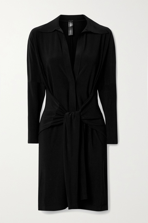 Norma Kamali 正面系带式弹力平纹布迷你连衣裙