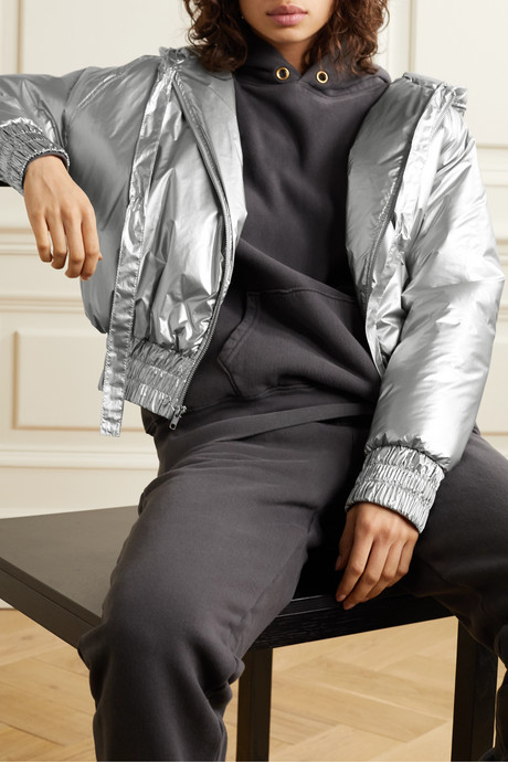 Hooded quilted metallic shell bomber jacket