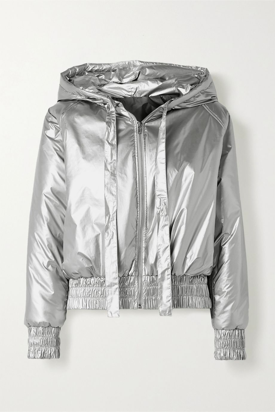 Norma Kamali Hooded quilted metallic shell bomber jacket