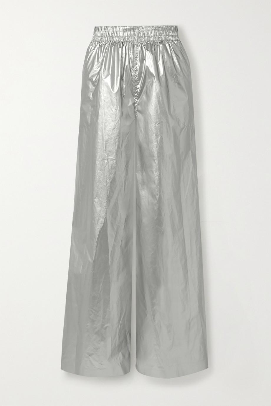 Norma Kamali Pantalon large en tissu technique métallisé Boyfriend Elephant