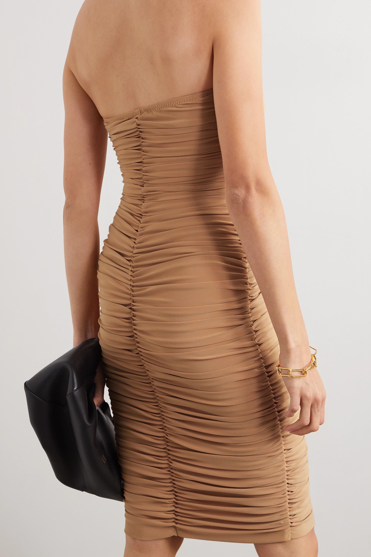 Norma Kamali Slinky strapless ruched stretch-jersey dress