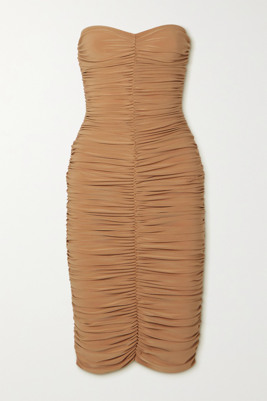 Slinky trägerloses Kleid aus Stretch-Jersey mit Raffungen