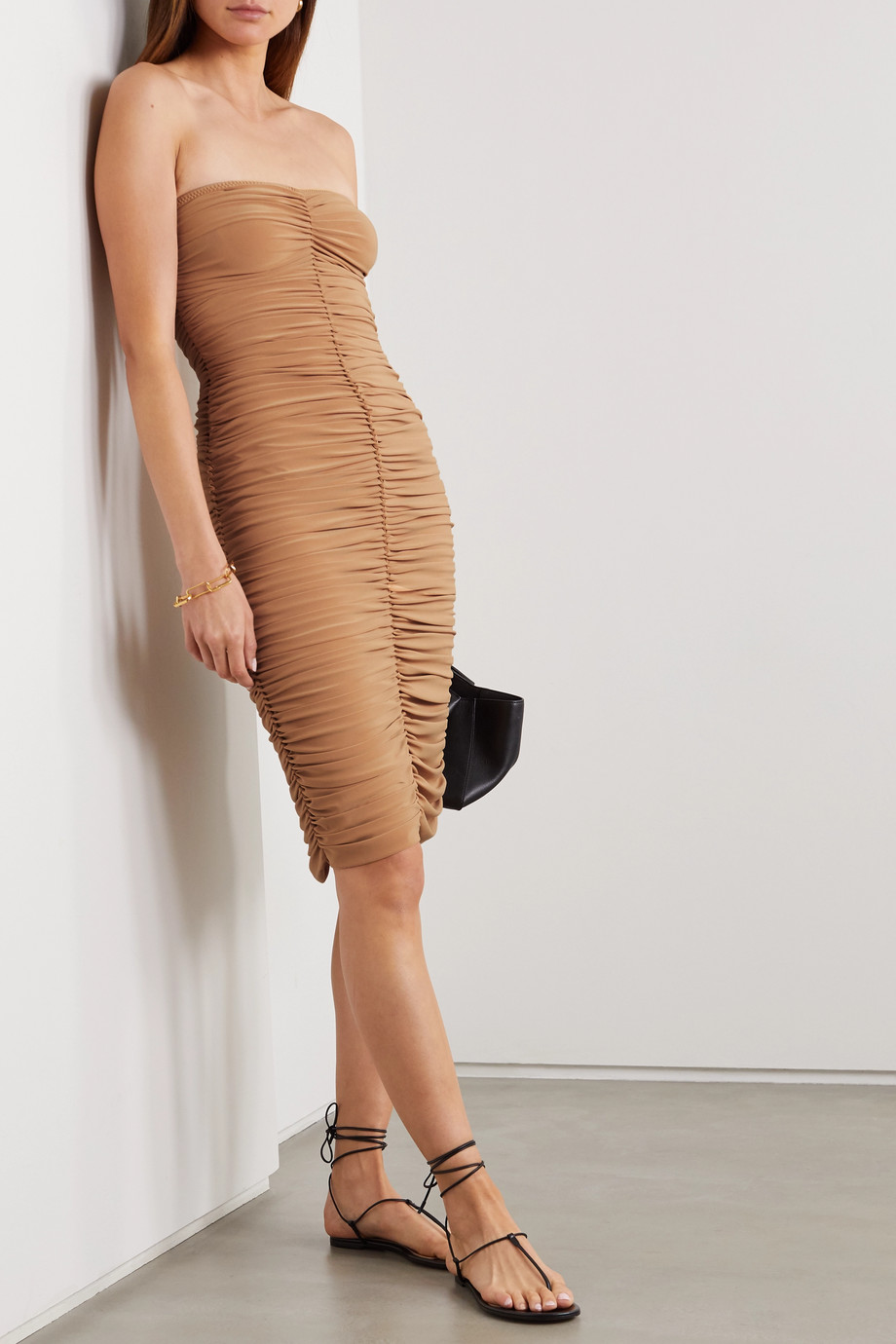 Norma Kamali Slinky strapless ruched stretch-jersey dress