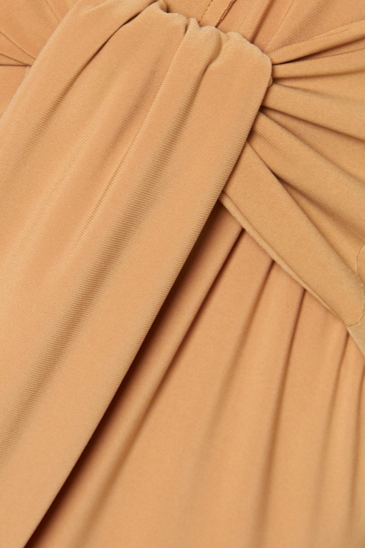 Beige Tie-front Stretch-jersey Jumpsuit | Norma Kamali